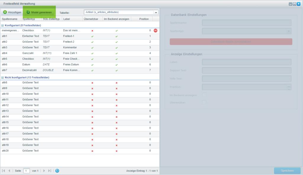 Shopware Schnittstelle Model neu generieren